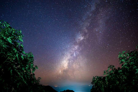 Beautiful landscape of  top mountains in  winter starry night sky with Milky Way background, Chiang mai , Thailand Stok Fotoğraf