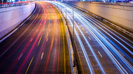 long exposure of traffic  lights on a freeway Stock fotó