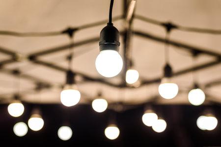 Vintage bulbs decor interiors ,Lighting bokeh decoration Stock fotó