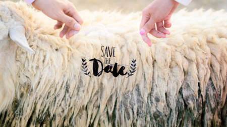 Bride and Groom hands show text save the date outdoor