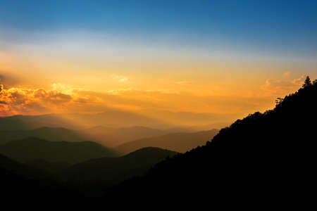 Majestic mountains landscape in sunset sky with clouds , Chiang mai , Thailand