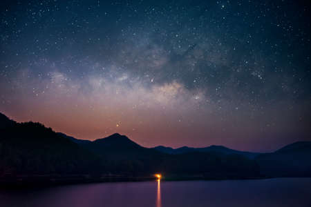 Beautiful landscape mountains and lake in the night with Milky Way background, Chiang mai , Thailand