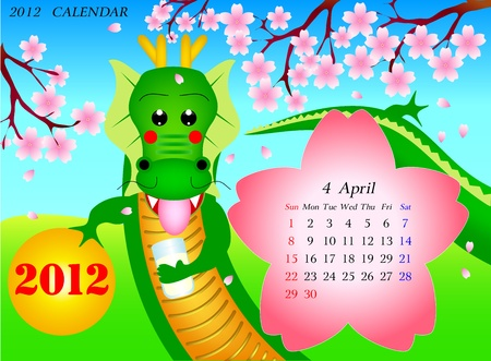 zodiac calendar for april 2012 Vector