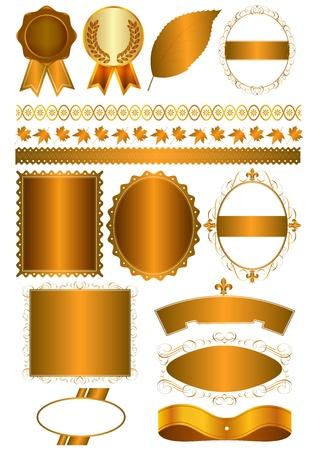 no background: various gold frame Illustration