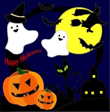 patchwork landscape: halloween Illustration