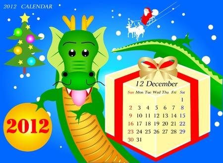 mon 12: zodiac calendar for december 2012 Illustration