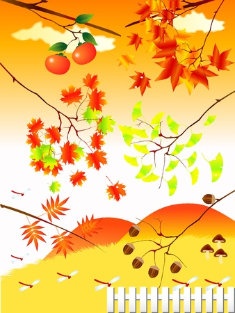 autumn landscape illustrations Vector