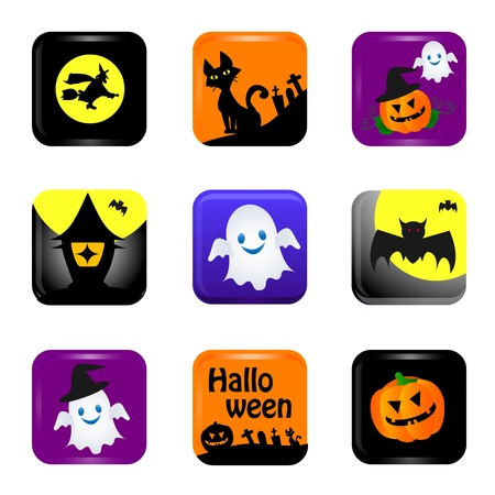ghost town: halloween icons Illustration