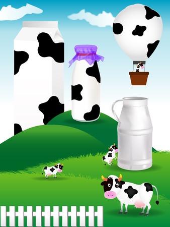 牧草地と牛とミルク