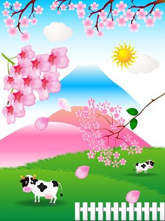 cherry farm landscape Stock Vector - 10802695