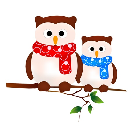 owl family: owl family Illustration
