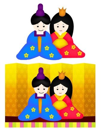 folding screens: doll Illustration