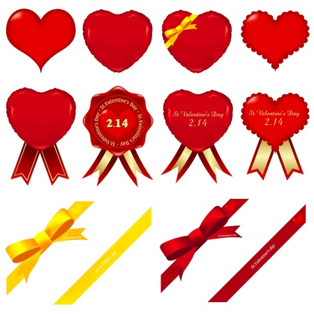 A variety of heart and ribbon Stock Vector - 11785989