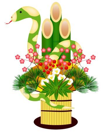snake  kadomatsu Stock Vector - 13698154