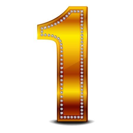 金の番号 1  イラスト・ベクター素材