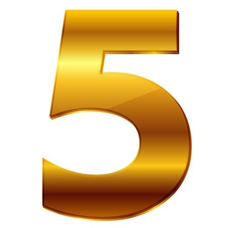number 5: number 5 in gold Illustration