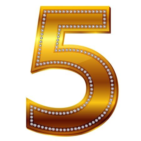 numera: el n�mero 5 de diamantes en oro Vectores