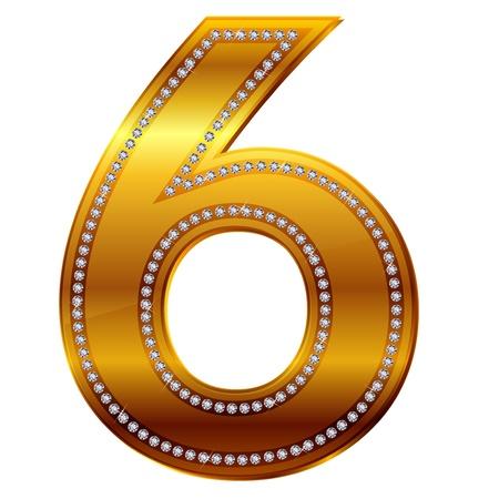 number 6 in gold  diamonds Vector