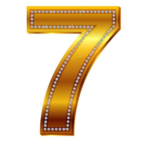 alphanumeric: number 7 in gold  diamonds Illustration