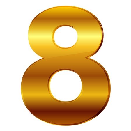 number 8 in gold Vector
