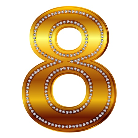 alphanumeric: number 8 in gold  diamonds