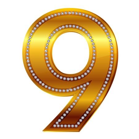 number 9 in gold  diamonds Vector