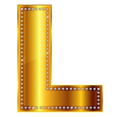 letras doradas: L