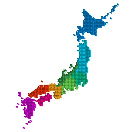 and he is no background: Map of Japan Illustration