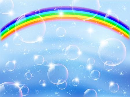 Sky background rainbow bubble Vector