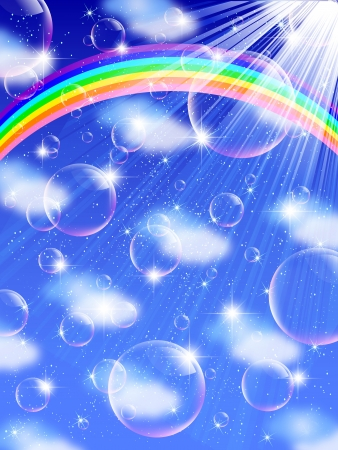 Bubble clouds sky rainbow background Stock Vector - 17861582