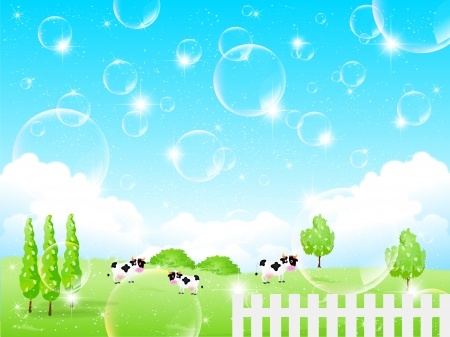 Bubbles background cattle ranch