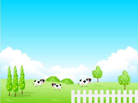 Highland cattle ranch background