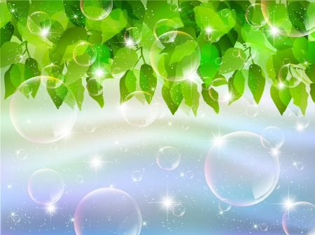 Leaves sky background soap bubble Stock Vector - 17962786