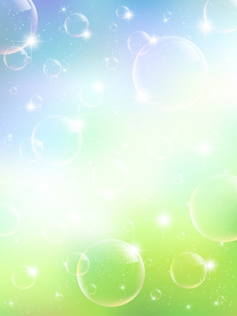 Leaf sky background soap bubble Stock Vector - 17962844