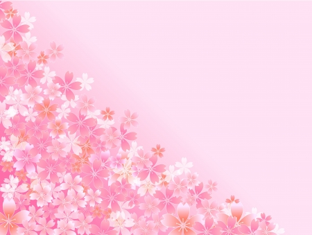 Spring pink cherry blossoms background Vector