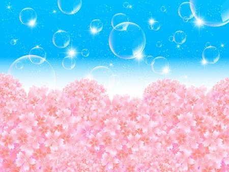 graduate asian: Bubbles background cherry Illustration