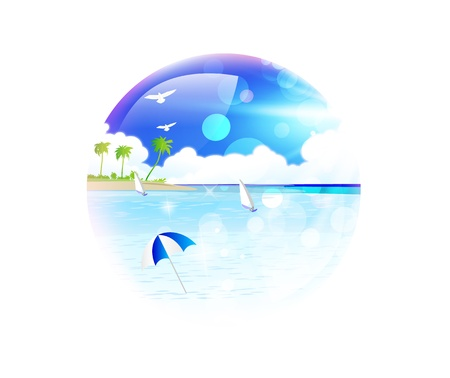 Summer sea frame palm ball Vector