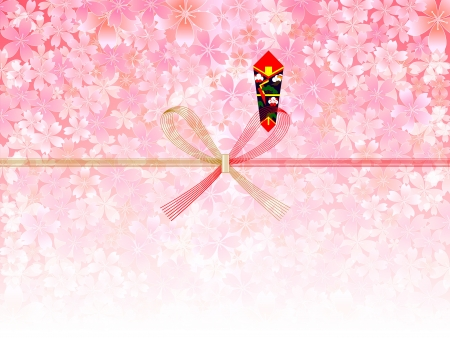 Noshi and background of cherry Stock Vector - 18002915
