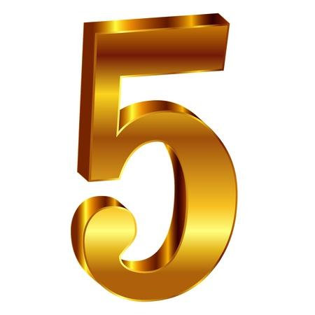 Gold emblem number 5 Vector