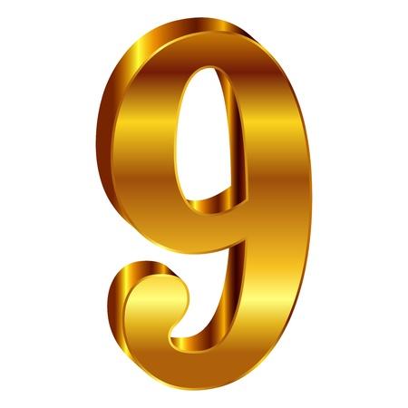 numbers background: Gold emblem number 9