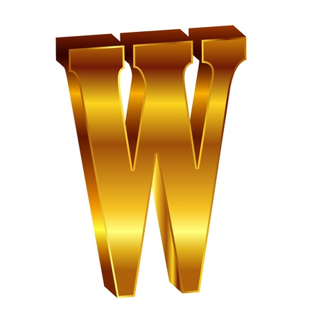 W alphabet gold emblem Vector