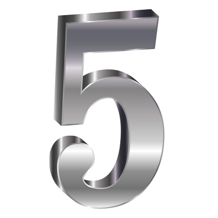 Silver emblem number 5 Stock Vector - 18178850