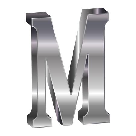 m: 3D silver alphabet M