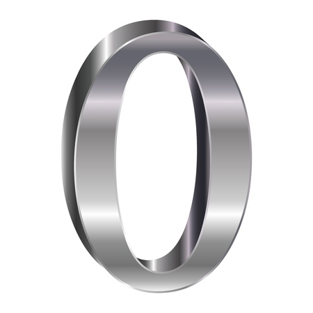3D silver alphabet O