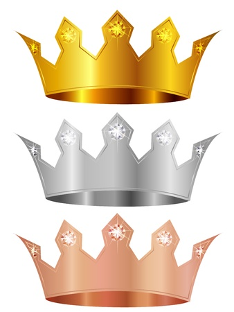 Gold silver copper crown crown Vector