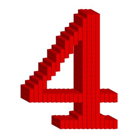 cijfer vier: 3D rode nummer vier Stock Illustratie