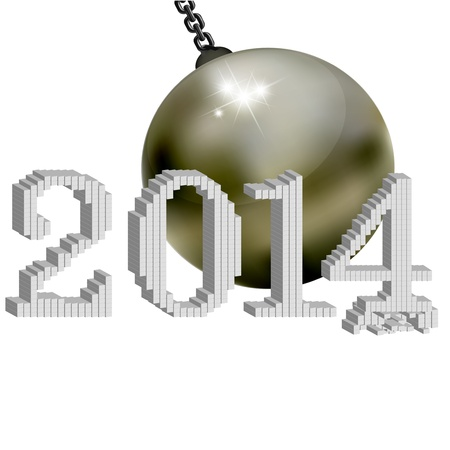 2014 New Year s ball iron lead Stock Vector - 18275184