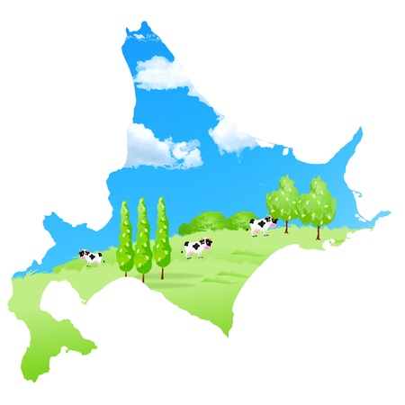 Cattle ranch map Hokkaido Vector