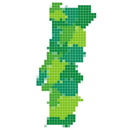 ポルトガル地図モザイク  イラスト・ベクター素材