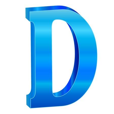 Blue alphabet D Vector